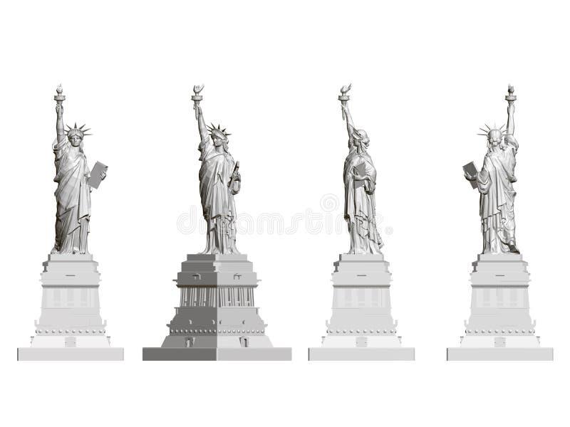 Eingestellt mit einem Freiheitsstatuen Front-, Seiten- und hintereansicht Polygonales Freiheitsstatue lokalisiert auf einem weiße stock abbildung