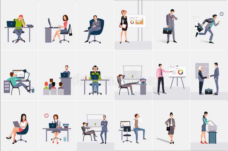 Eingestellt mit Geschäftsmännern und Geschäftsfrauen Junge Männer und Frauen an den Arbeitsplätzen Geschäftsleute, die ihre Arbei stock abbildung