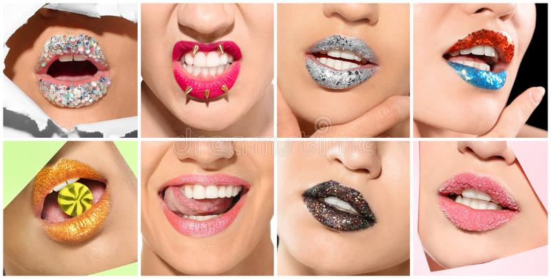 Eingestellt mit Schönheiten, Fokus auf Lippen stockbild