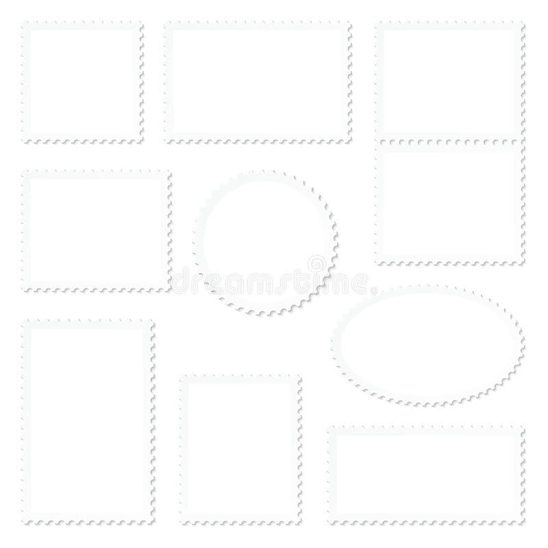 Eingestellt neun vom leeren weißen Stempel-Rahmen vektor abbildung