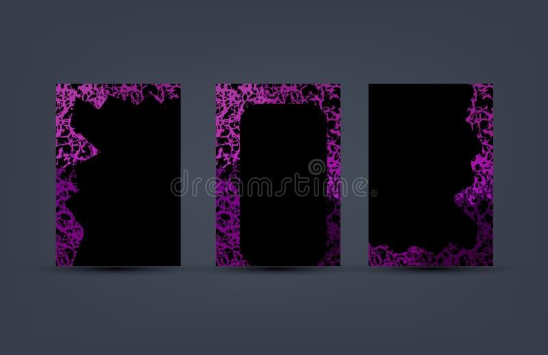 Eingestellt vom Abdeckungsentwurf mit abstrakten purpurroten Blumenkorallen fließen Formrahmen Vektorillustrationsschablone Schwa vektor abbildung