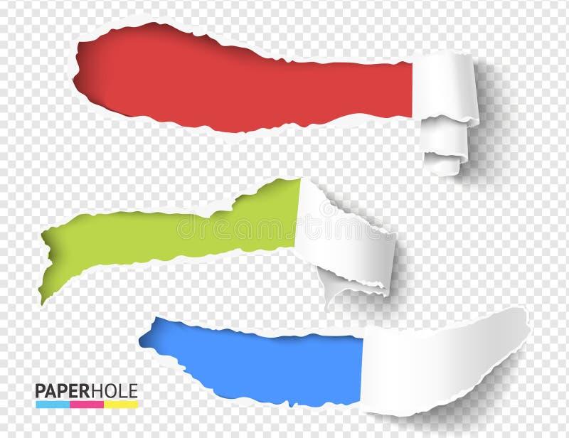 Eingestellt vom Vektorfreien raum zerreißen Sie weg von den Papierrollenstücken mit heftigen Lochrändern auf einem transparenten  stock abbildung