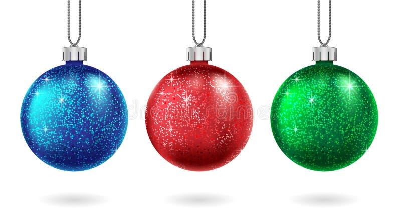 Eingestellt vom Weihnachten roter, blauer und grüner Ball lokalisiert Funkelnder Funkelnflitter Weihnachts- und des neuen Jahresf vektor abbildung
