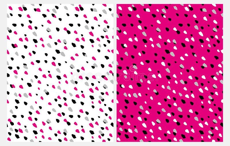 Eingestellt von 2 abstrakten nahtlosen Vektor-Mustern mit Hand gezeichnetem Irrgegular punktiert auf einem weißen und rosa Hinter vektor abbildung