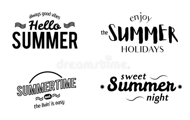 Eingestellt von den Sommer-typografischen Aufklebern lizenzfreies stockfoto