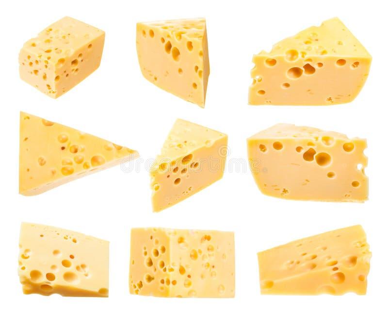 Eingestellt von den Stücken gelbem mittelhartem Schweizer Käse lizenzfreies stockbild