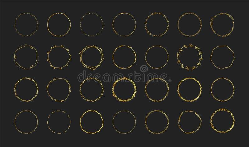 Eingestellt von der Goldhand gezeichnet ringsum Rahmen auf schwarzem Hintergrund für erstklassigen Entwurf Ausleseschmuckdekor vektor abbildung