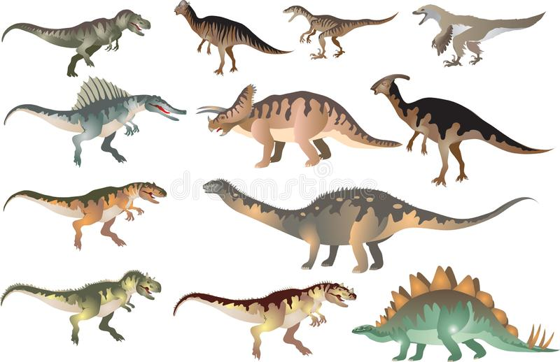 Eingestellt von Dinosaurus T-rex, Stegosaurus, Pacycephalosaurus, Triceratop - Vektor-Illustration stock abbildung