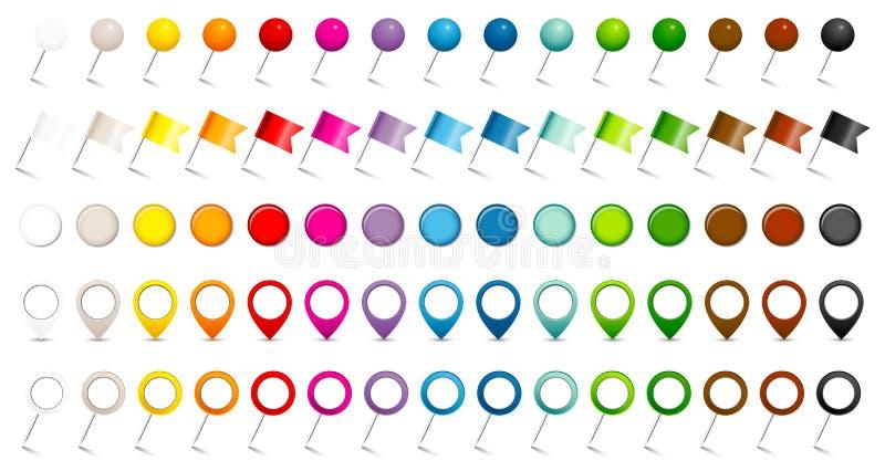 Eingestellt von fünf verschiedenen Stiftflaggen-Zeigern und Magneten fünfzehn Farben lizenzfreie abbildung