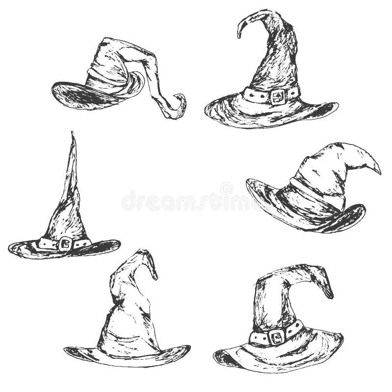 Eingestellt von Hand gezeichnetem Halloween maserte Hut-Vektorillustration der Hexe lizenzfreies stockfoto