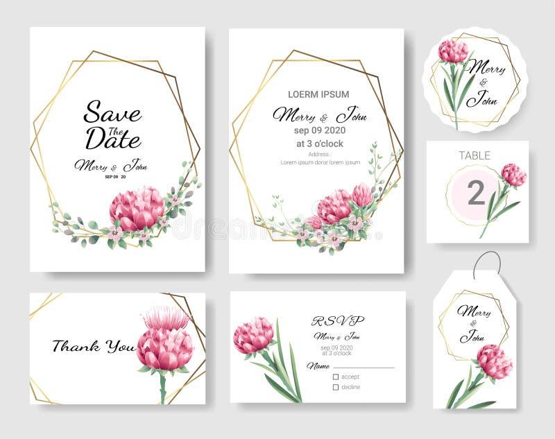 Eingestellt von Hochzeitseinladung Karte, sparen Sie das Datum danken Ihnen Karte, rsvp mit Blumen und Blätter, Goldgrenze, Aquar lizenzfreie abbildung