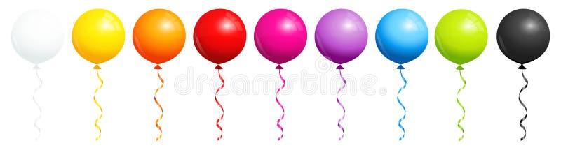 Eingestellt von neun runden Regenbogen-Ballonen mit Schwarzweiss lizenzfreie abbildung