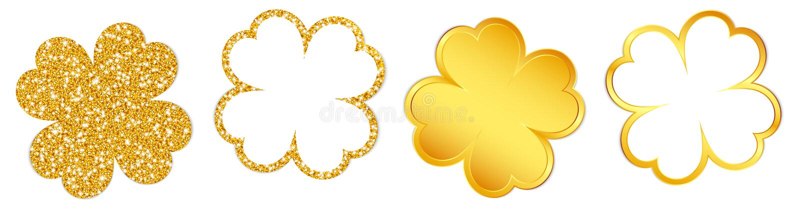 Eingestellt von vier funkelnden Klee-Blättern und von glänzendem Gold stock abbildung
