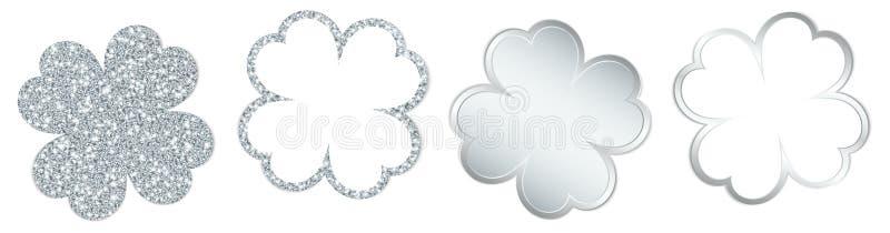 Eingestellt von vier funkelnden Klee-Blättern und von glänzendem Silber stock abbildung