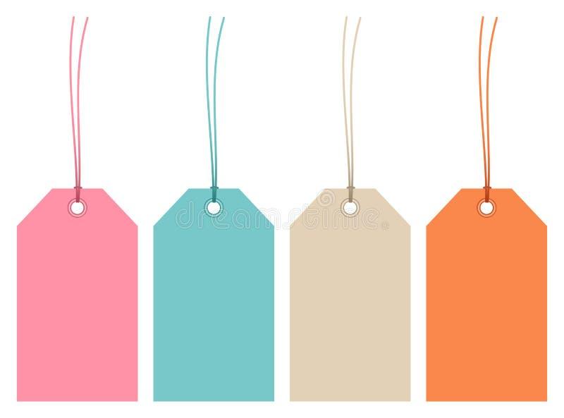 Eingestellt von vier Hangtags-Retro- Farbschnüren stock abbildung