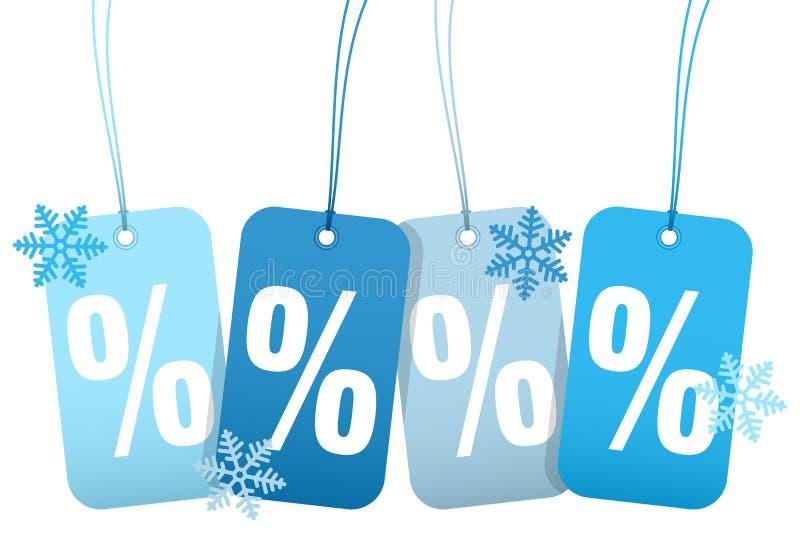 Eingestellt von vier Hangtags-Verkaufs-Prozent-Winter-Schneeflocken stock abbildung