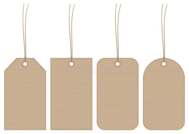 Eingestellt von vier horizontalen Papierstreifen Hangtags-Browns stock abbildung