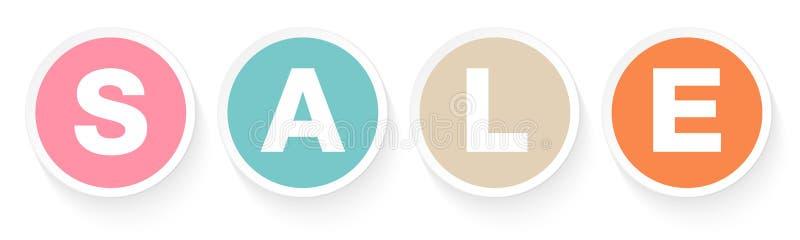 Eingestellt von vier Knopf-Verkaufs-Retro- Farben mit Schatten lizenzfreie abbildung