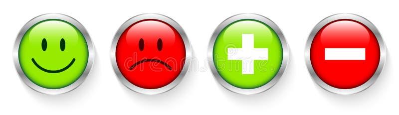 Eingestellt von vier silbernen Knöpfen stellt Plus- und negatives Grünes und rot gegenüber lizenzfreie abbildung