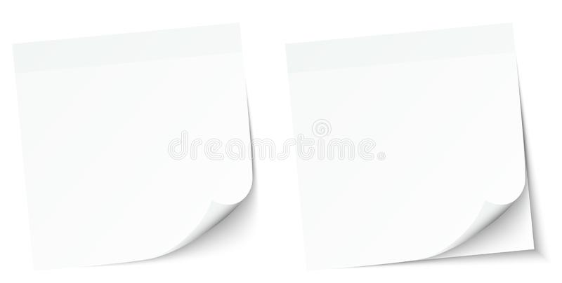 Eingestellt von zwei weiße Notizblock-klebrigen Anmerkungen stock abbildung