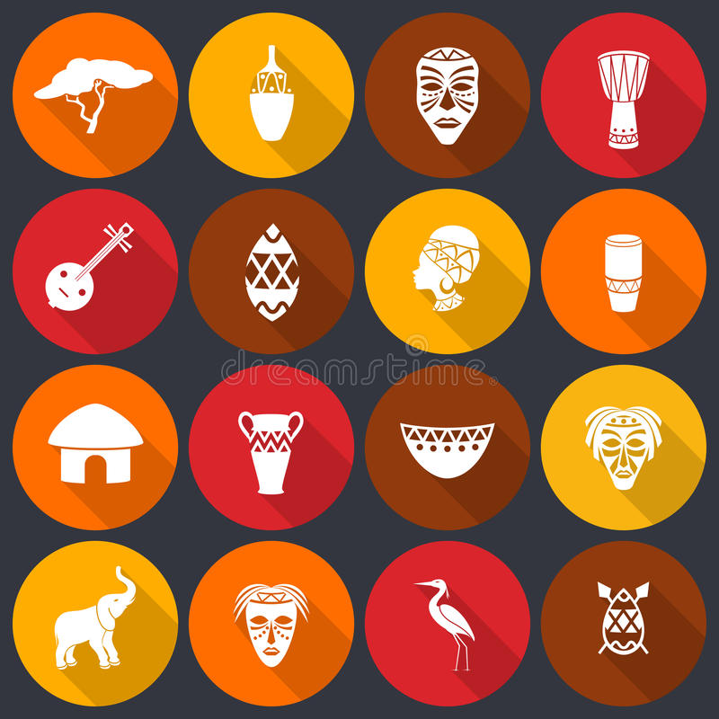 Eingestellte Ebene Afrikas Ikonen lizenzfreie abbildung