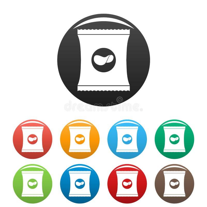 Eingestellte Farbe der Chips Ikonen lizenzfreie abbildung