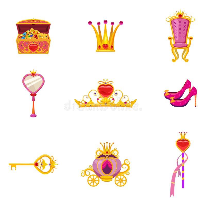 Eingestellte feenhafte Weltprinzessinelemente und Attribute des Entwurfs Spiegel, Schuhe, magischer Stab, Schatztruhe, Tiara, Sch lizenzfreie abbildung