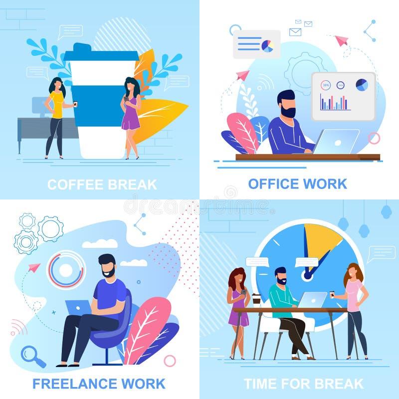Eingestellte flache Fahnen-Kaffeepause, Büro-Arbeits-Karikatur stock abbildung