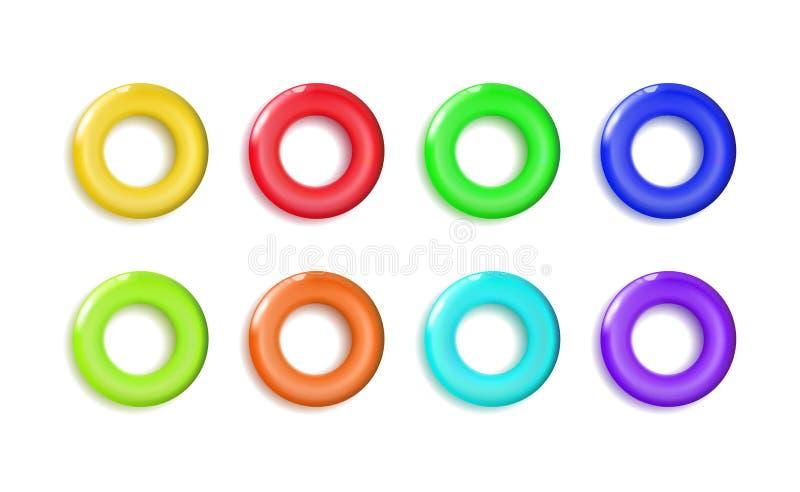 Eingestellte glatte gelbe Plastikspielwaren schellen Spielzeugbagel oder -donut bunt für Pyramide Klassischer Kreis mit einem Spa lizenzfreie abbildung