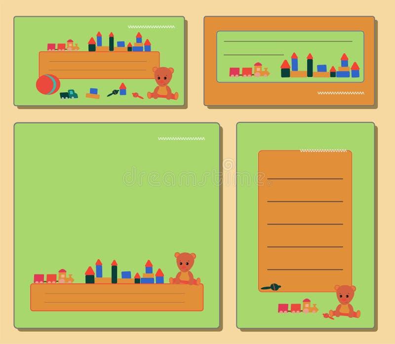 Eingestellte grüne Umbauten, mit Teddybären und Spielwaren für Jungen und Mädchen für Rahmenanmerkung vektor abbildung