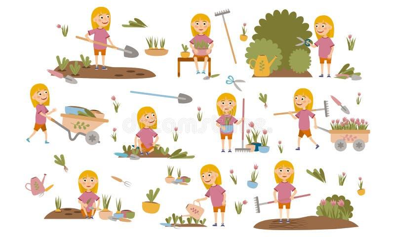 Eingestellte kleine blonde Mädchengartenarbeitanlagen, Unkrautbetten, Bewässerungssämlinge, Beschneidungsbüsche und Bäume, arbeit lizenzfreie abbildung