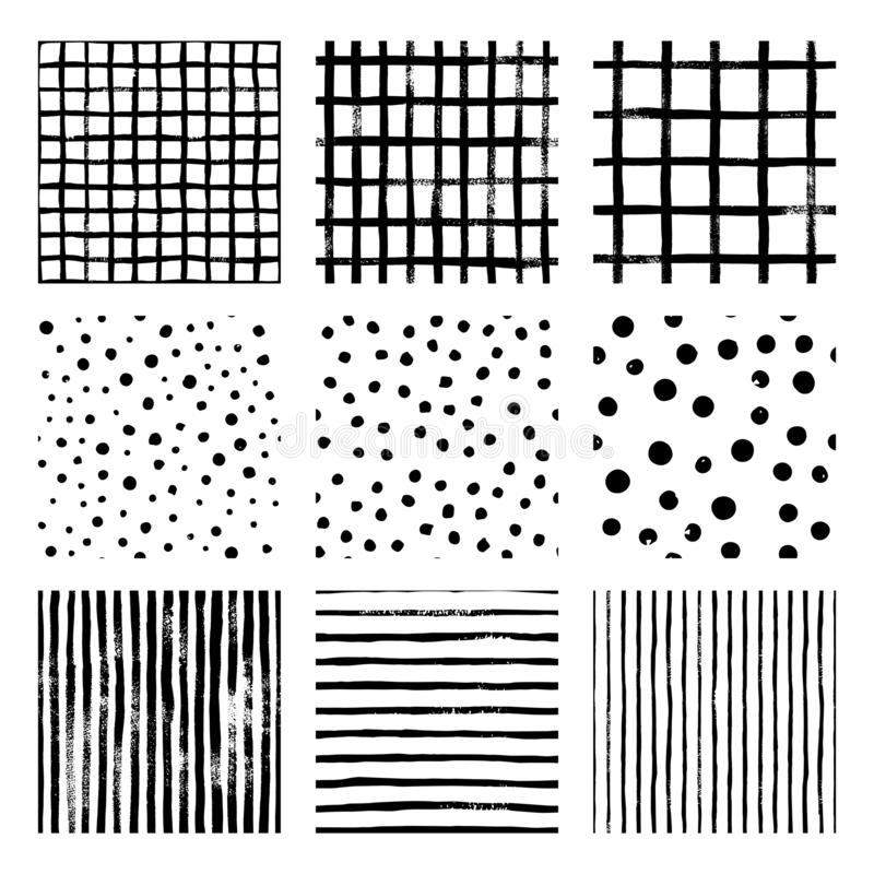 Eingestellte nahtlose Muster des Schwarzweiss-Vektors des Handabgehobenen betrages streifen Streifen, Gitter, Tupfen vektor abbildung