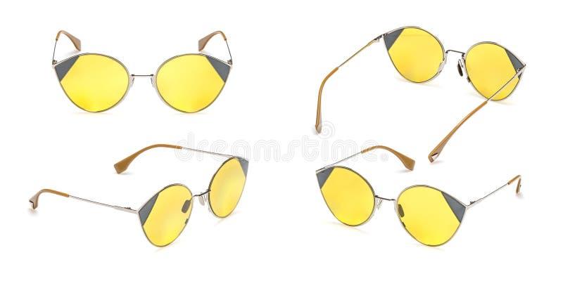 Eingestellte Retro- gelbe Sonnenbrille im runden Rahmen lokalisiert auf weißem Hintergrund Sammlungsmode Weinlese-Sommersonnenbri lizenzfreies stockfoto