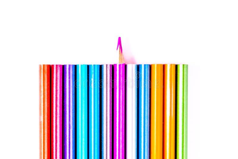 Eingestellte sch?ne wei?e, farbige Bleistifte von farbigen Bleistiften auf wei?em Hintergrund Bald zur Schule Zur?ck zu Schule stockfoto