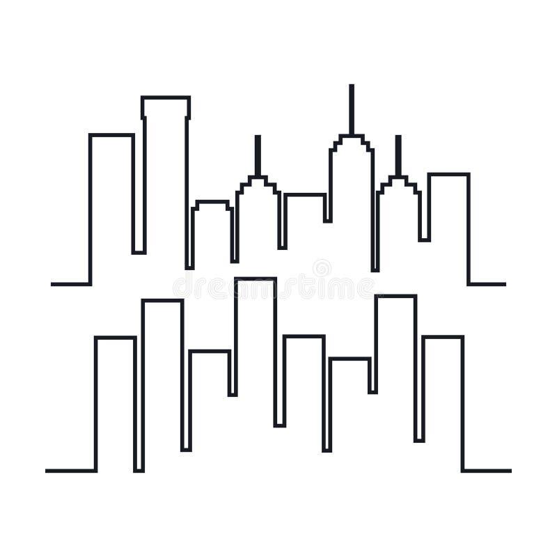 Eingestellte Schattenbildikone des Stadtbilds Gebäude vektor abbildung
