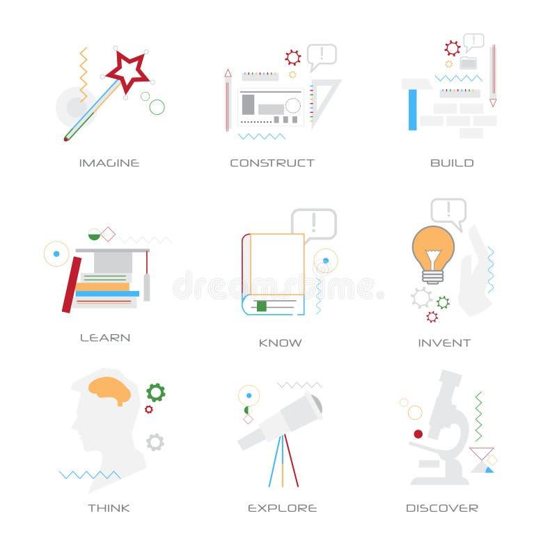 Eingestellte unterschiedliche Geschäftskonzeptsammlungslinie Art lokalisiert vektor abbildung