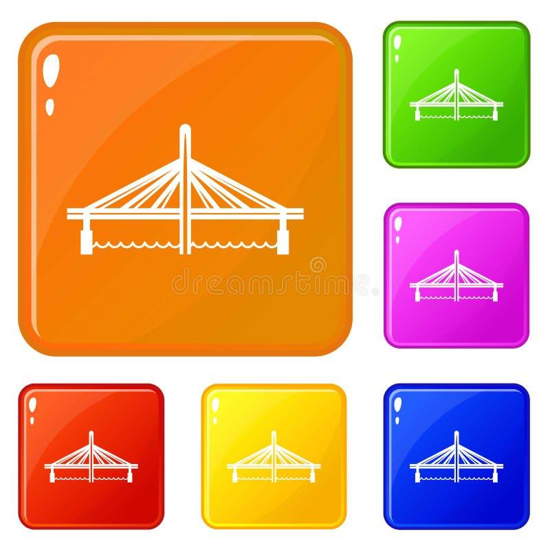 Eingestellte Vektorfarbe der Millau-Viaduktbr?cke Ikonen stock abbildung