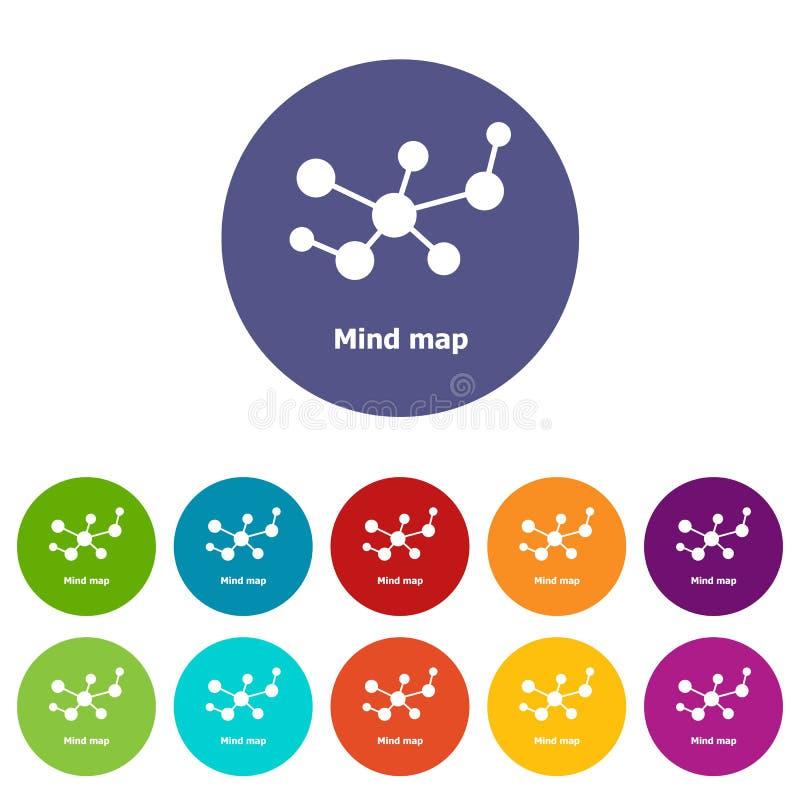 Eingestellte Vektorfarbe der Sinneskarte Ikonen lizenzfreie abbildung