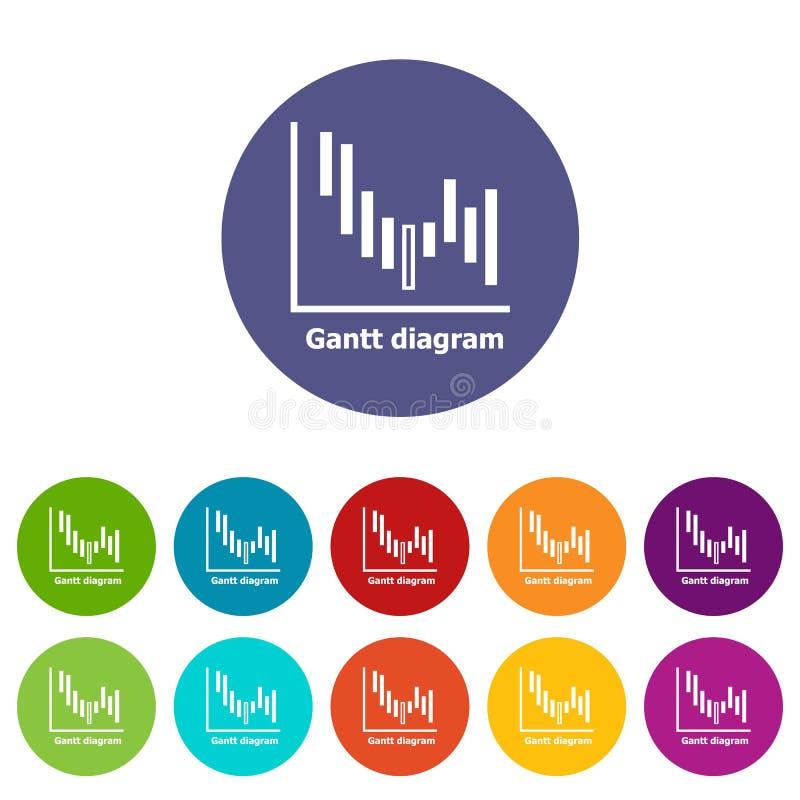 Eingestellte Vektorfarbe Gantt-Diagramms Ikonen lizenzfreie abbildung