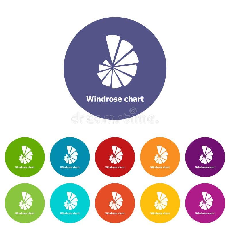 Eingestellte Vektorfarbe Windrose-Diagramms Ikonen stock abbildung