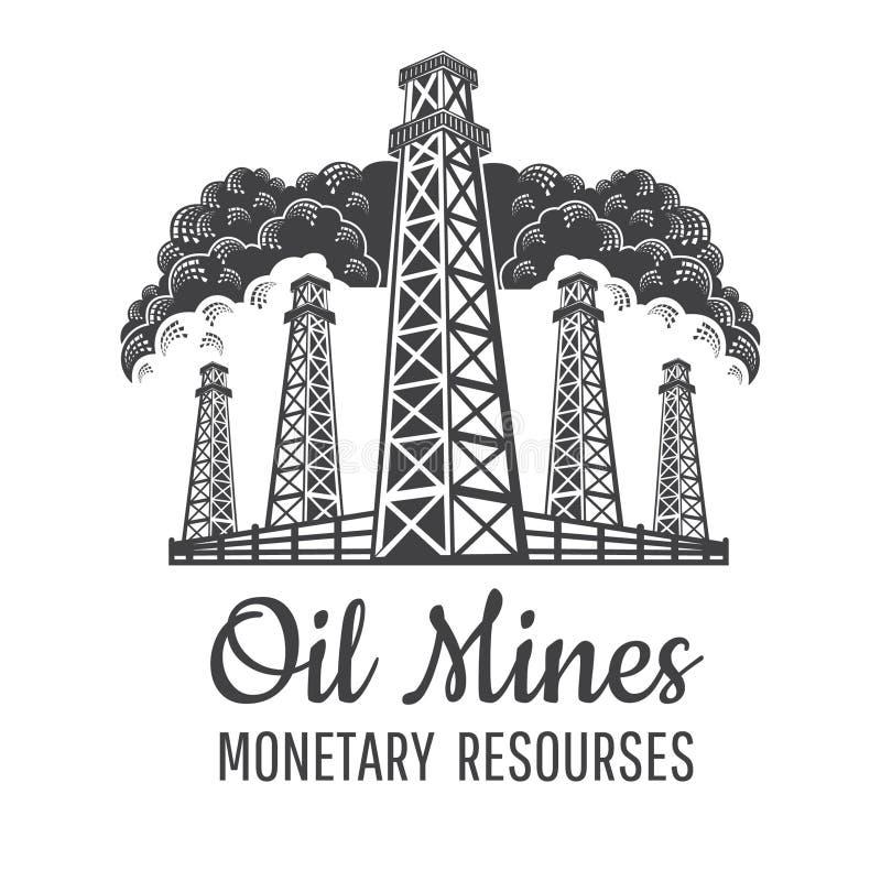 Eingestellte Vorderansicht der Ölbergwerke mit Zaun auf dem Wolkenhintergrund lokalisiert auf Weiß Logo für Währungs-resourses od vektor abbildung