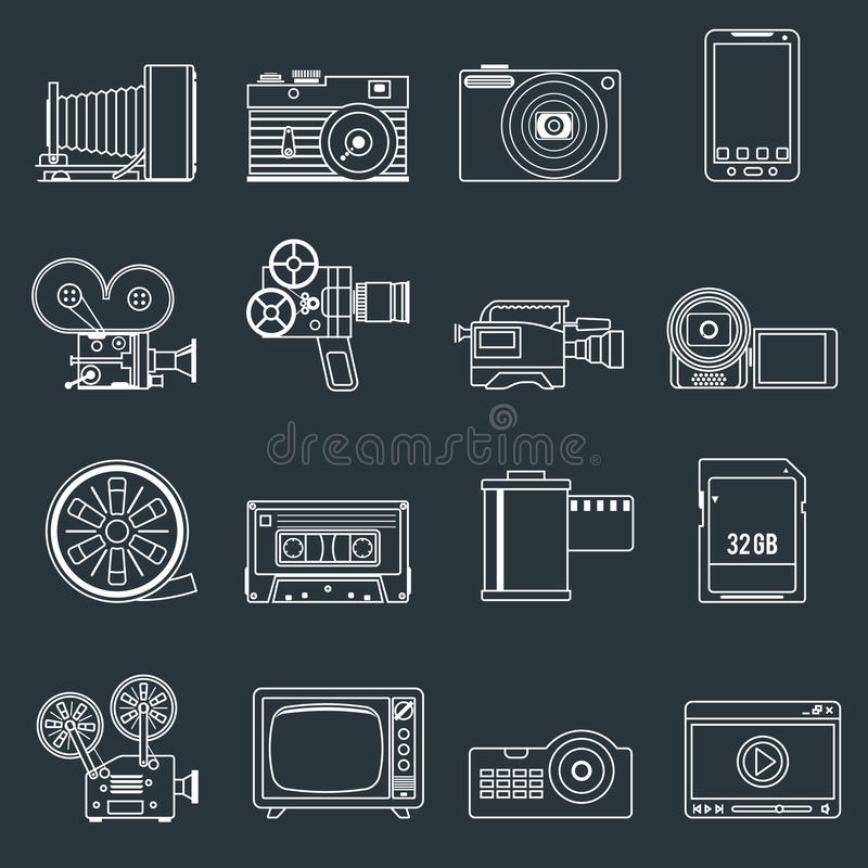 Eingestellter Entwurf des Fotos Videoikonen stock abbildung