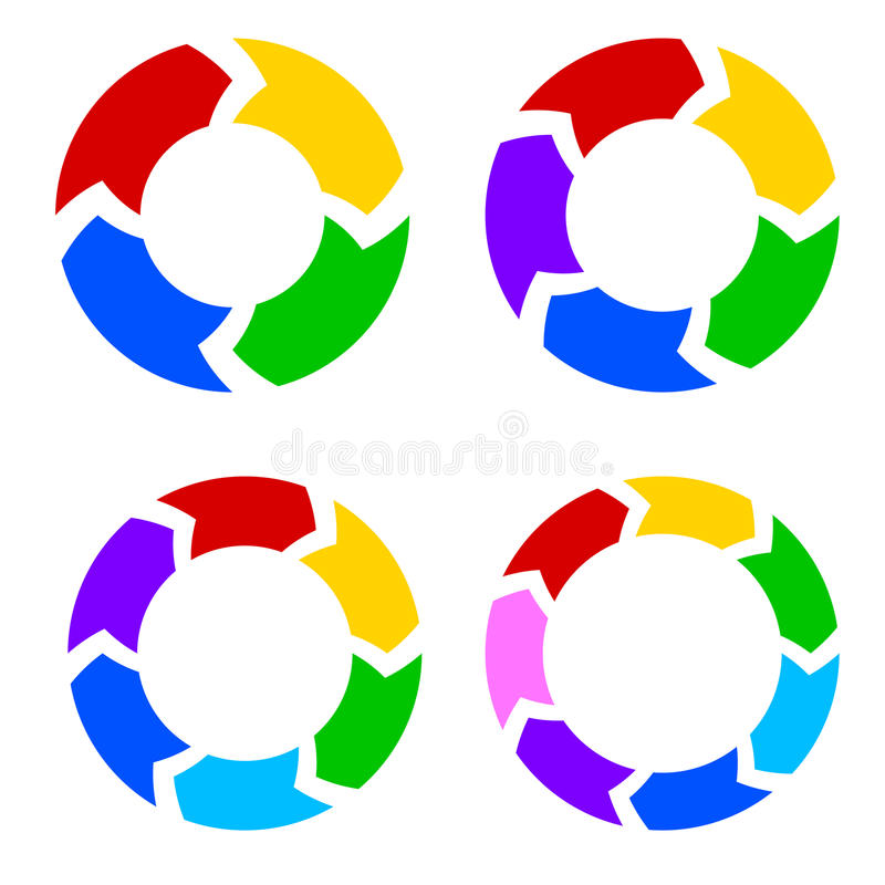 Eingestellter Vektor des Farbkreises Pfeile stock abbildung