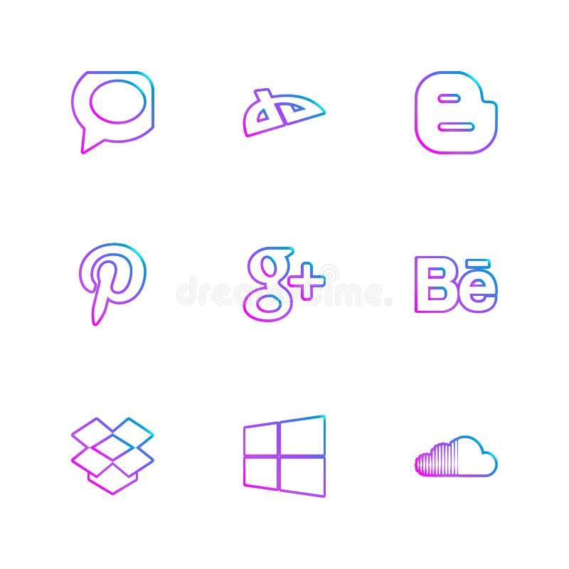 Eingestellter Vektor des Social Media ENV Ikonen stock abbildung