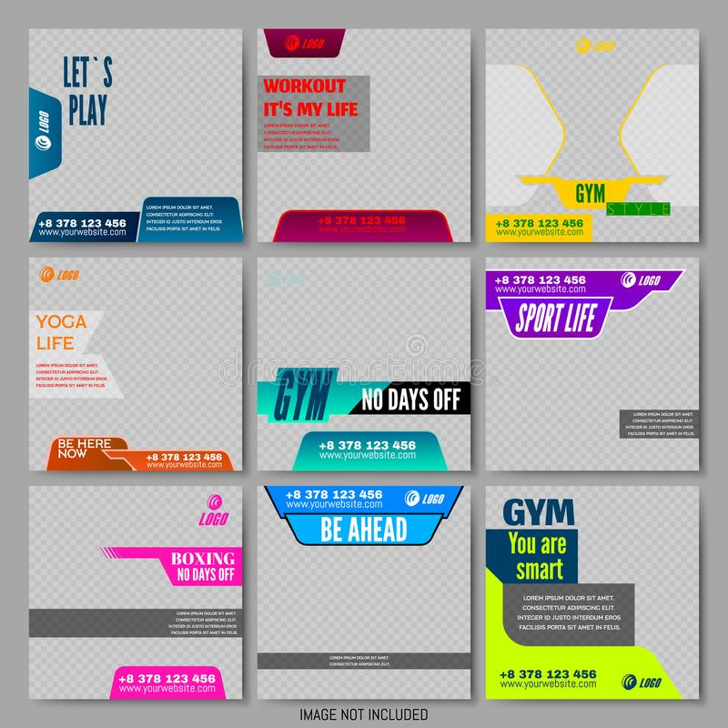 Eingestelltes Editable Social Media gestaltet Anzeigen-Schablonen stock abbildung