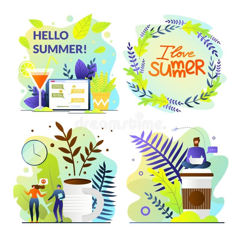 Eingestelltes helles Plakat wird hallo Sommer-Karikatur geschrieben lizenzfreie abbildung