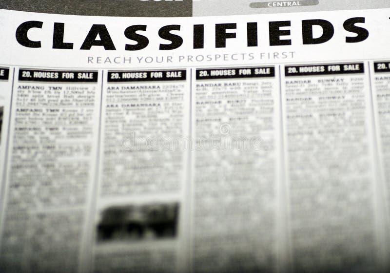 Eingestufte Anzeigen stockfotografie