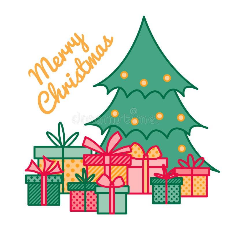 Eingewickelte Geschenke und Geschenke unter Weihnachtsbaum mit Grußzeichen frohen Weihnachten, Illustration des neuen Jahres, Lin stock abbildung
