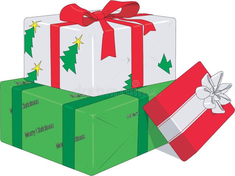 Eingewickelte Weihnachtsgeschenk-Vektor-Illustration stock abbildung