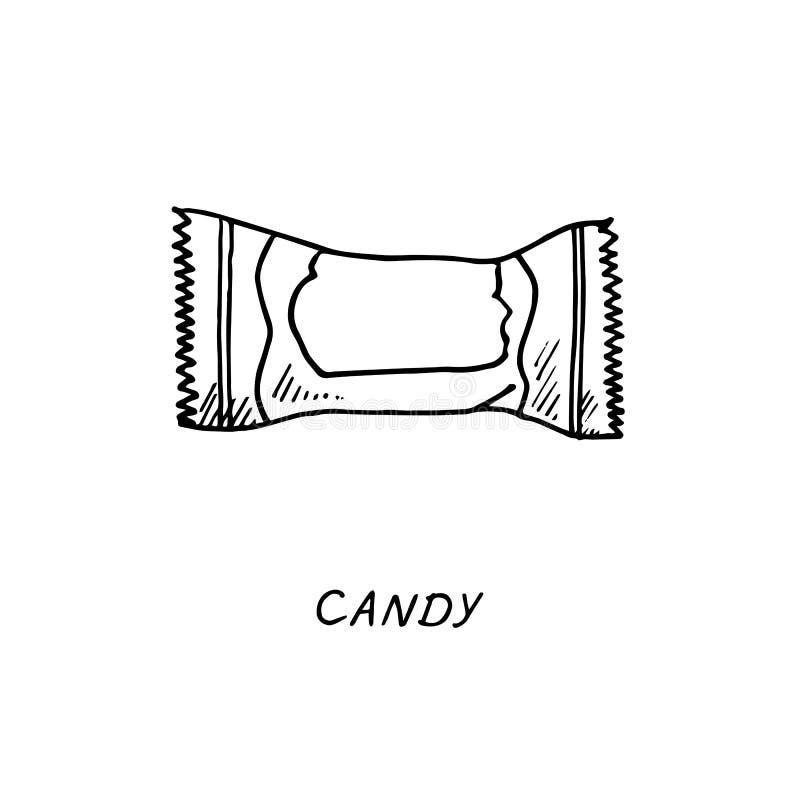 Eingewickeltes Bonbon, Lutscherzeichnung, Weinlesegekritzelentwurfs-Illustrationsart, Handgezogenes Gekritzel, Skizze, Vektor mit stock abbildung